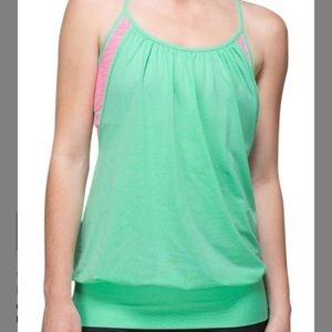 Like New Lululemon Tank Green and Pink Size 4